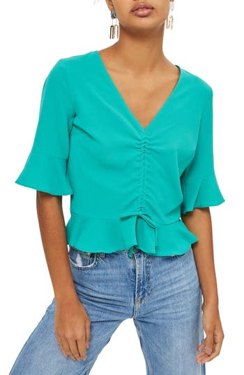 Women's Topshop Ruby Ruched Blouse, Size 2 US (fits like 0) - Green