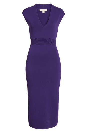 Michael Michael Kors Rib Waist Knit Midi Dress, Purple