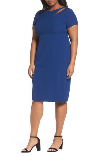 Plus Size Adrianna Papell Seam Detail Stretch Sheath Dress, Blue
