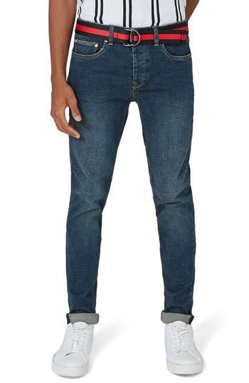 Topman Stretch Skinny Jeans, Blue