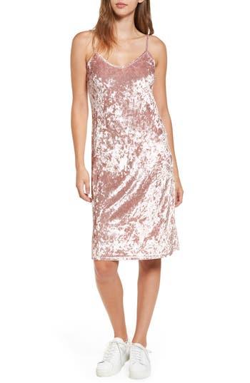 Love, Fire Crushed Velvet Slipdress, Pink