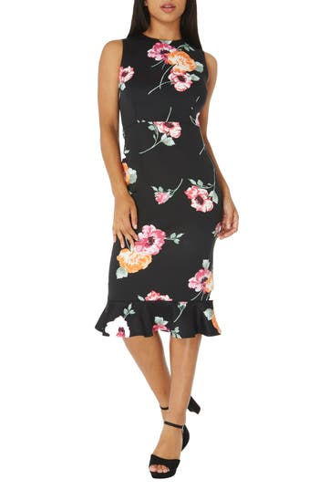Dorothy Perkins Floral Sheath Dress, US / 8 UK - Black