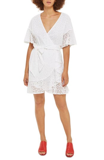 Topshop Broderie Ruffle Wrap Dress, US (fits like 0) - White
