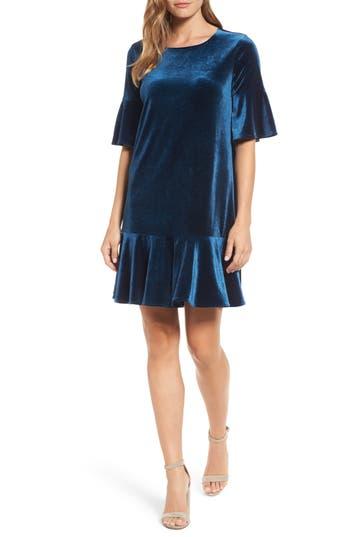 Halogen Ruffle Trim Velvet Dress, Blue/green