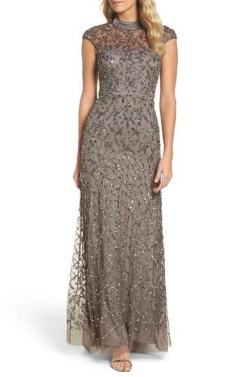 Adrianna Papell Embellished Mesh Gown, Brown