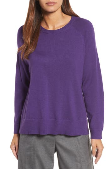 Eileen Fisher Side Slit Merino Wool Sweater, Purple