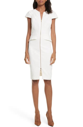 Ted Baker London Architectural Pencil Dress, White