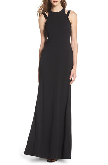 Vera Wang High Neck Strappy Gown, Black