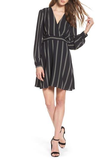 Charles Henry Stripe Fit & Flare Dress, Black
