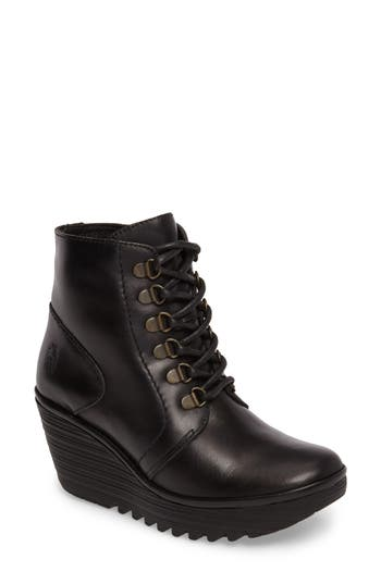 Fly London Yarn Lace-Up Wedge Boot, Black
