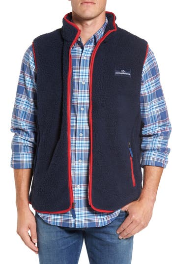 Men's Southern Tide Fleece Zip Vest, Size X-Large - Blue