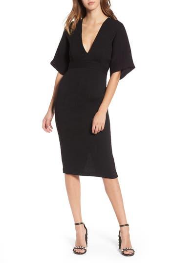 Topshop Textured Plunge Midi Dress, US (fits like 0) - Black
