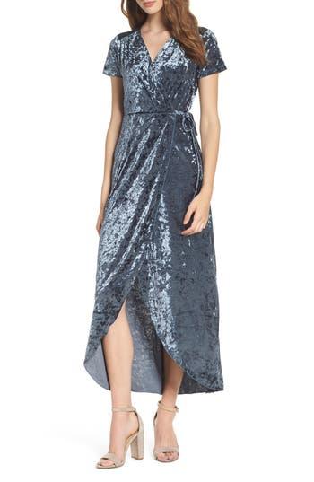 Women's Nsr Velvet Midi Wrap Dress, Size Small - Blue