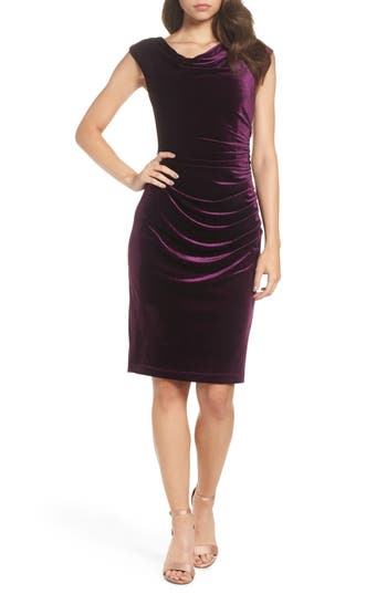 Vince Camuto Ruched Velvet Body-Con Dress