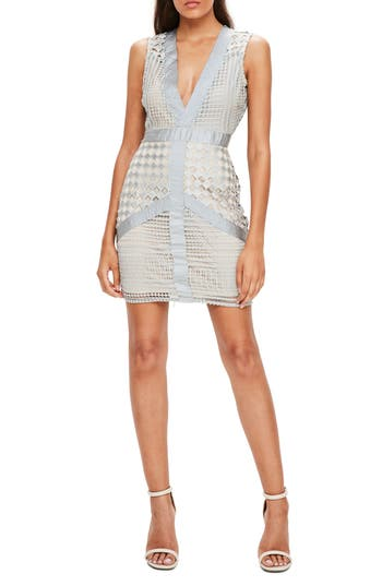 Missguided Lace Body-Con Dress, US / 6 UK - Grey