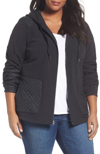 Plus Size Columbia Warm Up Hooded Fleece Jacket, Black