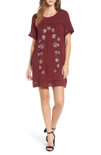 Love, Fire Embroidered Dress, Burgundy