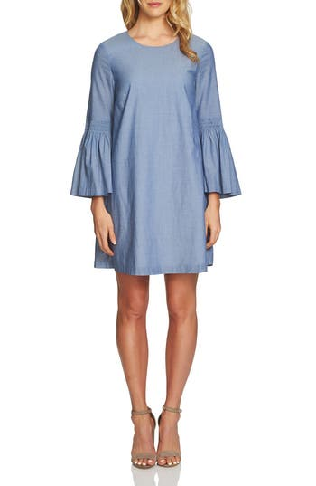 1.state Bell Sleeve Chambray Dress, Blue