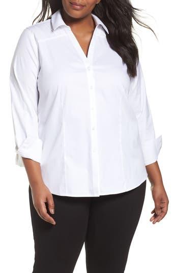 Plus Size Foxcroft Rita Solid Stretch Cotton Top, White