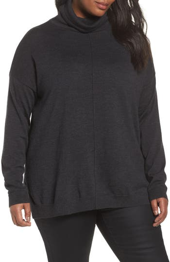 Plus Size Eileen Fisher Merino Wool Turtleneck Sweater, Grey