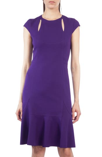 Akris Punto Cutout Flounce Hem Dress, Purple