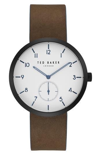 Ted Baker London Josh Subeye Leather Strap Watch, 42Mm