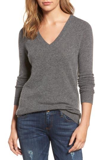 Petite Women's Halogen V-Neck Cashmere Sweater