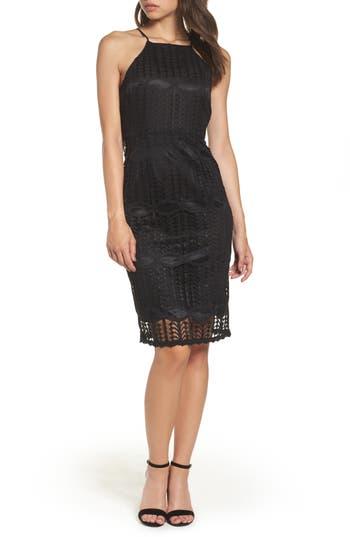Nsr Lace Halter Midi Dress, Black