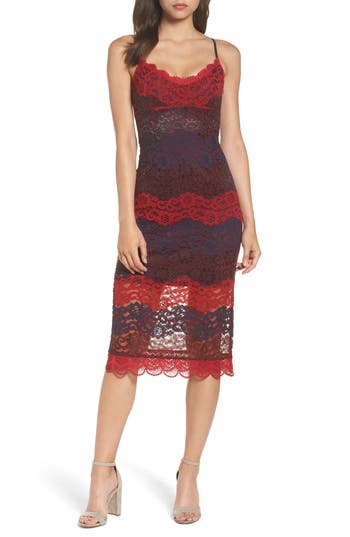 Nsr Floral Lace Slipdress, Red