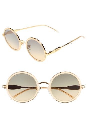 Wildfox Ryder Zero 4m Flat Round Sunglasses - Gold Pearl