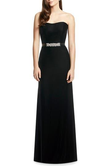 Dessy Collection Embellished Belt Strapless Velvet Gown, Black