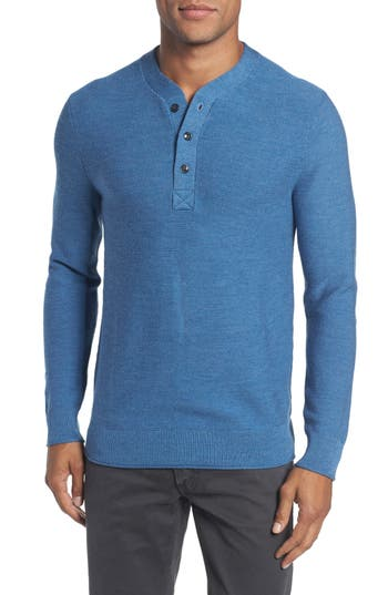Bonobos Slim Fit Merino Long Sleeve Henley Sweater, Blue