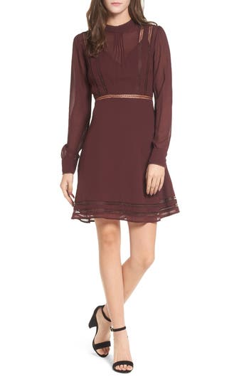 Astr The Label Kirsten A-Line Dress, Burgundy