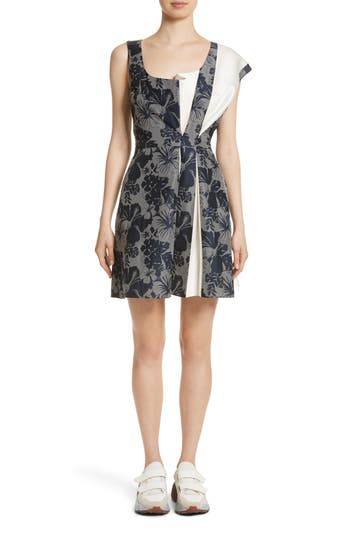 Stella Mccartney Pleated Floral Jacquard Dress, 4 IT - Black