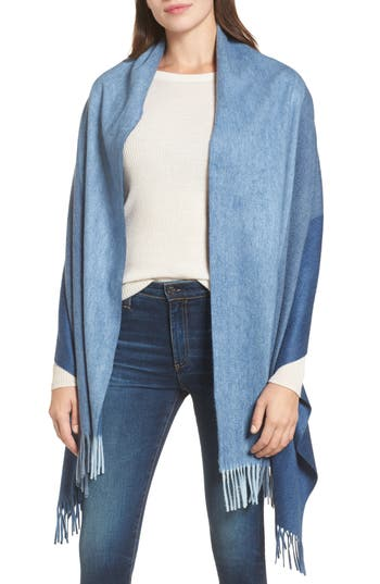 Women's Nordstrom Collection Tricolor Cashmere Wrap, Size One Size - Blue