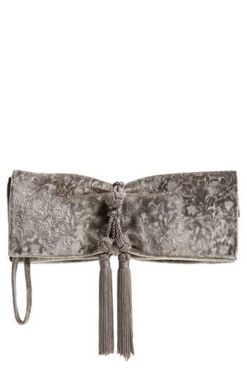 Badgley Mischka Carbon Velvet Clutch - Grey