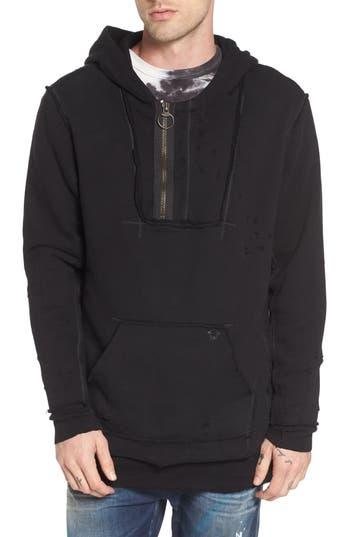 True Religion Brand Jeans Distressed Pullover Hoodie, Black