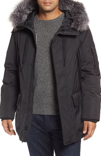 Andrew Marc Shell Jacket With Genuine Fox Fur Trim, Black