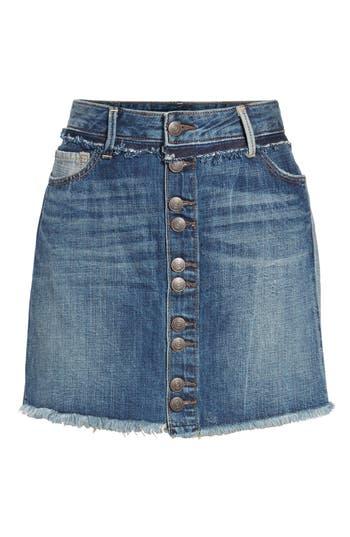 True Religion Brand Jeans Deconstructed Denim Skirt, Blue