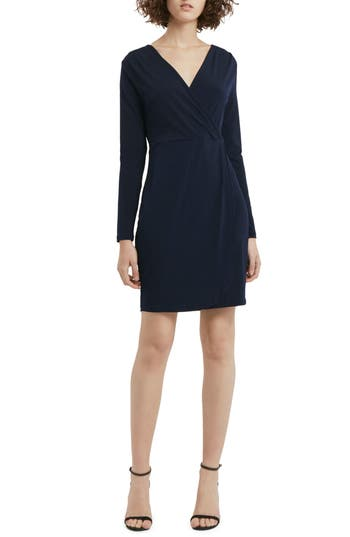Women's French Connection Slinky Faux Wrap Dress, Size 0 - Blue