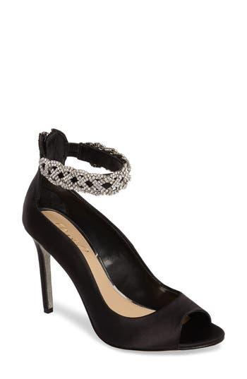 Jewel Badgley Mischka Alanis Embellished Ankle Strap Pump- Black
