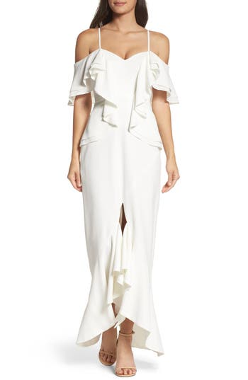 C/meo Collective Covet Ruffle Off The Shoulder Gown, Ivory