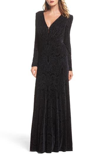 Tadashi Shoji Plunge Burnout Gown, Black