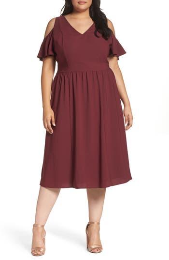 Plus Size Sejour Cold Shoulder Midi Dress, Burgundy