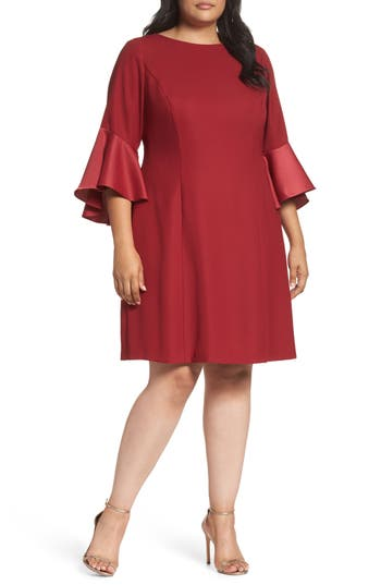 Plus Size Adrianna Papell Bell Sleeve A-Line Dress, Red