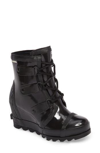 Sorel Joan Glossy Wedge Rain Boot- Black