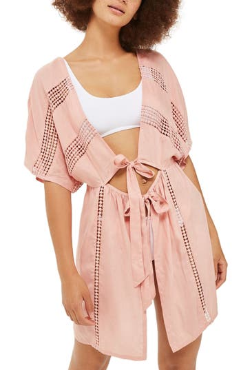 Topshop Crochet Inset Cover-Up Caftan, Pink