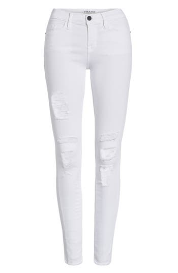 Women's Frame 'Le Skinny De Jeanne' Ripped Jeans, Size 24 - White