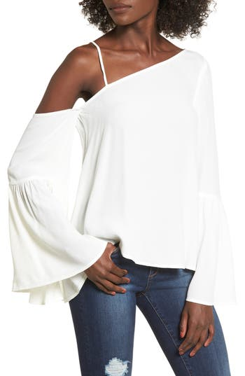 Women's Leith One-Shoulder Bell Sleeve Top, Size X-Small - Ivory