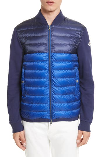 Men's Moncler Maglia Mixed Media Down Knit Jacket, Size Small - Blue